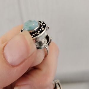 New Larimer 925 Silver Poison Ring. Size 8.50
